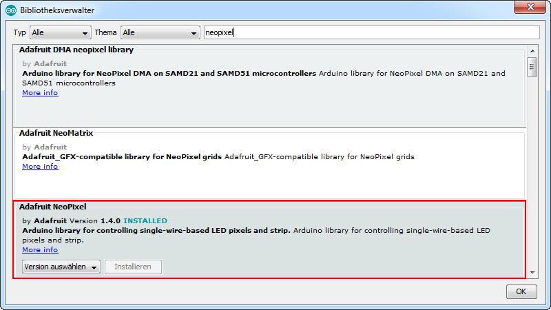 Arduino IDE Bibliothekenverwalter